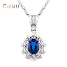 卡比尔珠宝0.93克拉天然蓝宝石项链18K白金镶嵌彩色宝石吊坠
