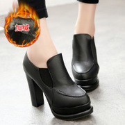 Fall 2015 the new Europe and the coarse cotton small round head in high heels shoes platform deep shoes women shoes