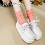 Puqi Puqi real cowhide white shoes, platform shoes platform retro round casual flat Korea tide