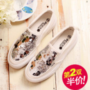 Le Fu, Becky, autumn new thick-soled shoes canvas shoes women Korean boom lazy sequin shoes leisure shoes feet shoes