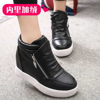 2015 new double zipper stealth increases in winter and cashmere women's shoes high student Shoes Sneakers casual shoes