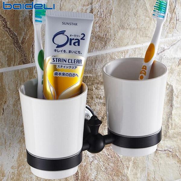 佰德利 浴室柜卫生间厕所 黑古铜仿古涑口杯 陶瓷刷牙杯架洗漱杯