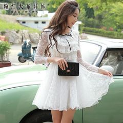 Pink lace dress dolls 2015 autumn new style women's pleated waist long sleeve dress