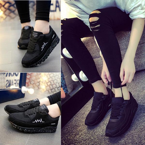 全黑色运动鞋女工作鞋系带秋天休闲跑步鞋潮大码女鞋子百搭板鞋潮
