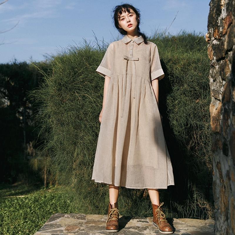 漞渡原创 衬衫领蝴蝶sukol裙少女宽松显瘦中长款纯色连衣裙夏季