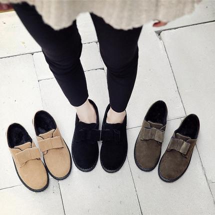 棉鞋女冬季2017新款学生保暖韩版百搭豆豆鞋秋加绒一脚蹬面包女鞋