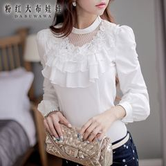 Shirt women long sleeves Pink doll 2015 end of autumn new products women's ruffled shirt and a white shirt