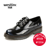 West fall 2015 new round flat heel platform patent leather Oxford shoes with deep flat women's shoes shoes