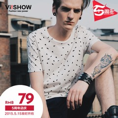 Summer viishow2015 new male Korean version of dot printed short sleeve t-shirt short sleeve solid color crewneck top