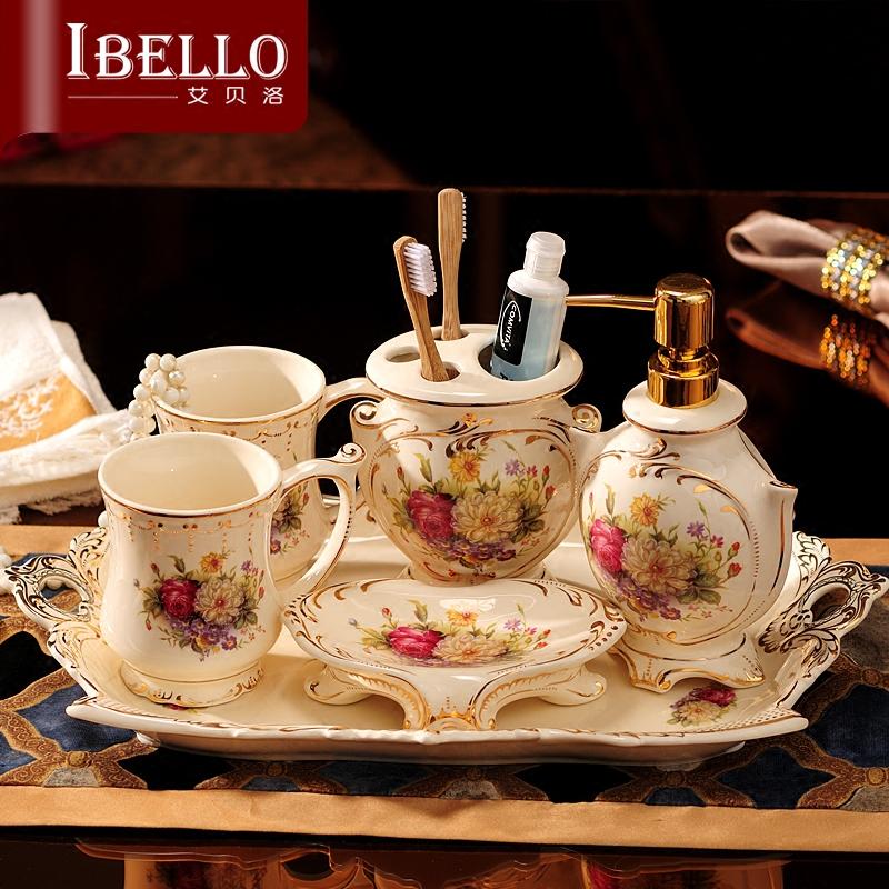 欧式卫浴五件套 漱口杯洗漱杯套装卫浴牙刷杯套装 陶瓷卫生间用品