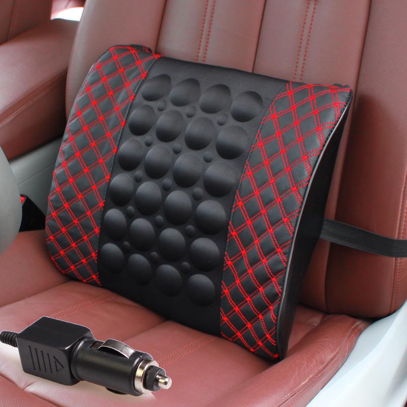 汽车旅行长途腰部保健靠垫超纤皮电动按摩腰靠车用坐垫12V靠背垫