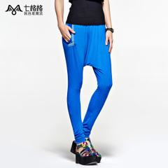 Seven space space OTHERMIX pin print slim feet in waist harem pants casual pants women