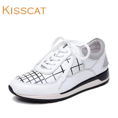 Kiss cat leather strap casual athletic women shoes kisscat2015 autumn new high sneakers