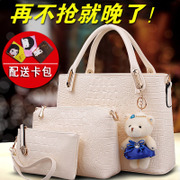 Amoy fashion summer tide bag crocodile pattern bag handbag in 2015 new picture package three-set shoulder bag
