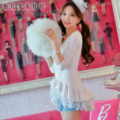 Sweater Lady big pink dolls 2015 spring new style blouses ruffled loose Cardigan