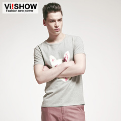 Viishow men's 2015 new short sleeve t-shirt printing pink logo short sleeve t shirt solid colors t