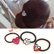 Know Connie hair cute hair elastic hair tie ropes made by the Korean version of graffiti love lips string jewelry