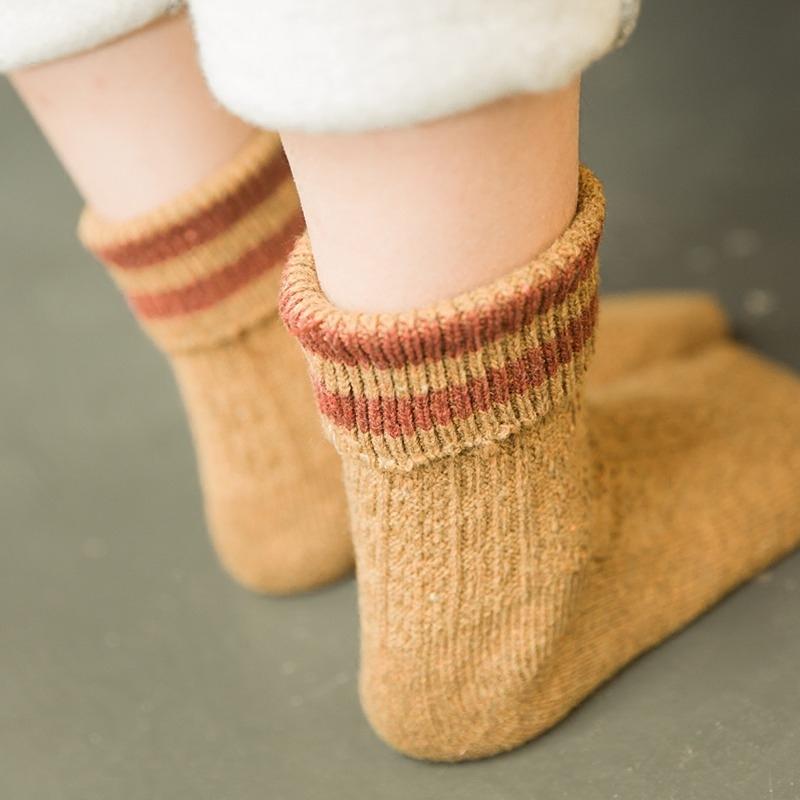 袜子女秋冬季加厚纯棉中筒袜堆堆韩版学院风日系粗毛线二杠短靴袜