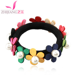River flower hair bands made of rope Korea high elastic pony tail hair band elastic fabric flower bold leather ladies headwear