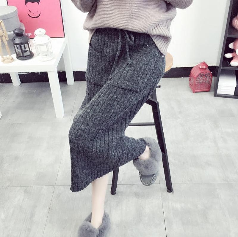 裙子女秋鼕2017新款中長款學生針織半身裙韓版百搭包臀毛線裙長裙