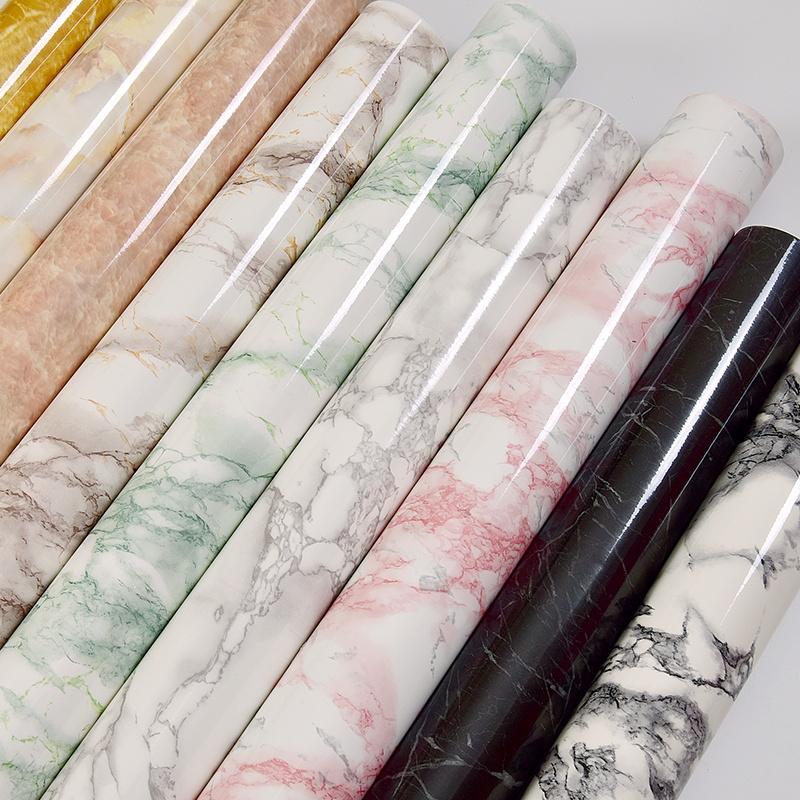 加厚大理石贴纸厨房台面柜子家具翻新贴纸桌面防水墙纸 壁纸自粘