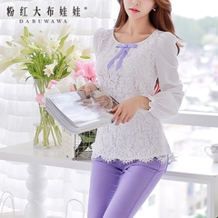 Shirts girls big pink doll 2015 summer new style lace long sleeve shirts blouses white spell tide