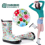 RAINBELT rain-belt fashion tube boots in the Korean version of the MS-green flowers-flowers rain boot covers water shoes