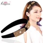 Smart hair accessories headband fashion women''s rhinestone band hoop chain bit resin hairpins Korean card issuers headwear
