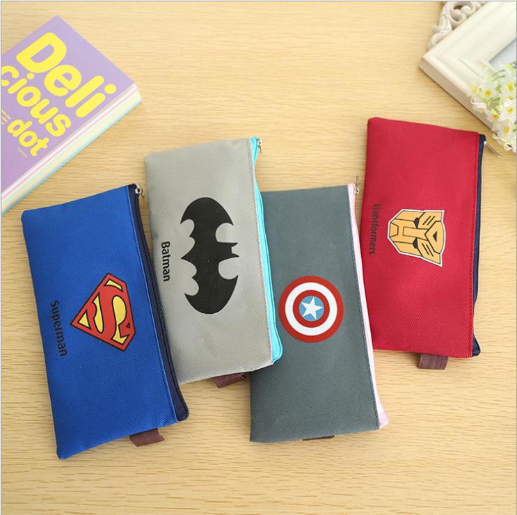 9.9包邮创意超人英雄联盟主题文件袋文具盒收纳袋容量大学生笔袋