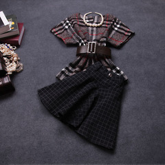 2014 early autumn new Womenswear fall/winter Plaid top quality wool dress suits in England autumn dress #