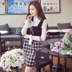 Strap dress big pink doll 2015 autumn Plaid women's tide of self your waist bag hip dress