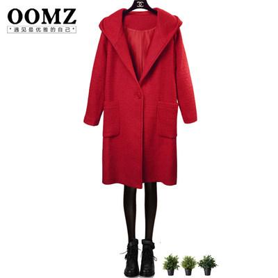 oomz2015秋冬新款韩版女装大红色连帽加厚修身中长款毛呢外套女