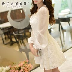 Lace dress big pink doll fall 2015 ladies new big slim long sleeve dress
