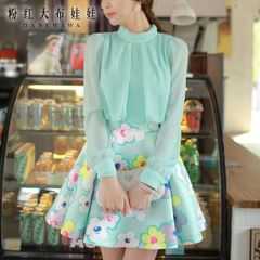 Chiffon dress big pink doll fall 2015 new ladies long sleeve fake two pieces printed dress