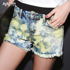 Summer of seven space space OTHERCRAZY2015 hole hot pants new heavy wash worn denim shorts women
