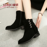 Kang Jiao autumn winter new products shoes short boots genuine leather tassels Scrubs short cylinder high chunky heels with low winter boots