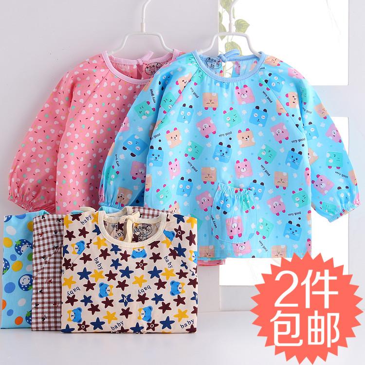 宝宝罩衣纯棉防水围裙儿童反穿衣长袖秋冬季男女童婴儿吃饭兜兜褂