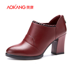 Aokang shoes autumn 2015 new zipper high heel shoes when Europe and pointed leather shoes women