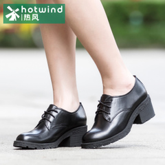 Hot shoes spring new lace round head tumbled leather casual shoes shoes girls tide 61H5809