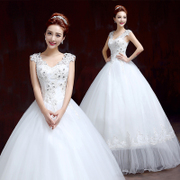 New 2015 fashion Korean wedding dresses one shoulder winter double-shoulder bridal plus size slimming-