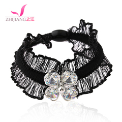 Jiang pressed hair tie leather string Korea rhinestone rubber band ropes made by the Korean Lady tiara ponytail hair accessories