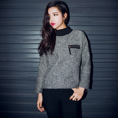 QUEENZZ Europe and the socialite winds fall/winter 2014 new half-Korean women sweater high neck chest pocket #