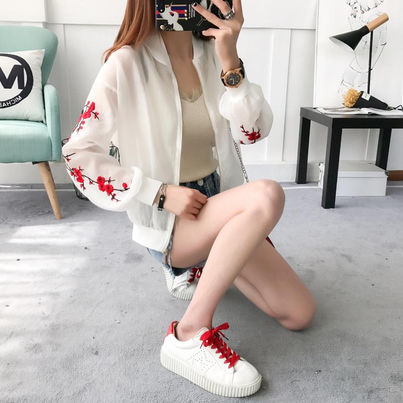 防晒衣女2017夏季新款韩版长袖学生百搭休闲刺绣薄款夏装短款外套