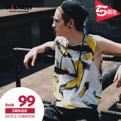 Viishow2015 summer dress new trendy street fashion patterned vest vest cotton sleeveless t-shirt-shirts