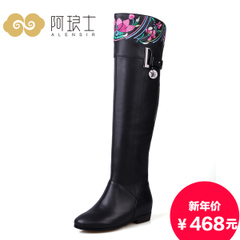 Fall/winter boots over the knee significantly thin embroidered boots women's boots high boots high boots leather cowhide 168