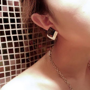 Nano Korea ear jewelry Korean style stylish luxury in Europe and America cut black gem-encrusted earrings 2025
