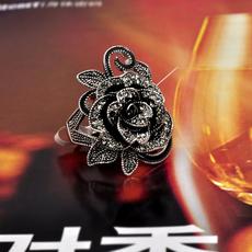 欧美简约夸张合金镀金水钻镶嵌复古戒指玫瑰花女款气质饰品送女友