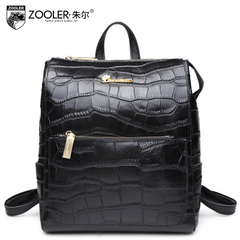 Jules the fashion new style leisure trends for female crocodile pattern leather shoulder bag backpack bag fall 2015 personality woman