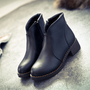 2015 autumn and winter boots women's boots with thick with round head Martin women thick casual British women boots women's shoes at the end of the tide