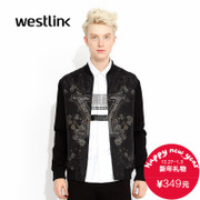 West fall 2015 new stylish printed mesh mosaic baseball collar men's zipper jacket y no collar black